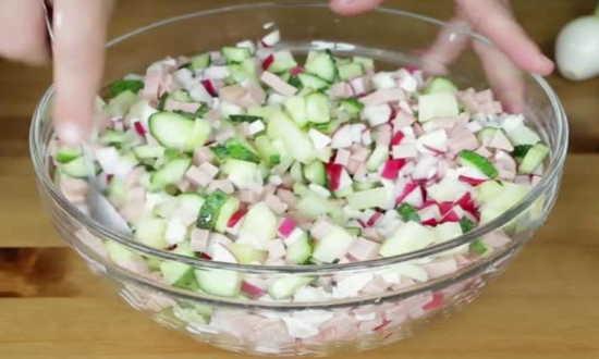 перемешанные овощи охлаждаем