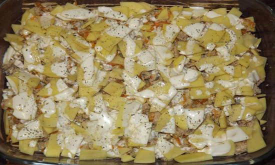 выкладываем в форму оставшуюся картошку