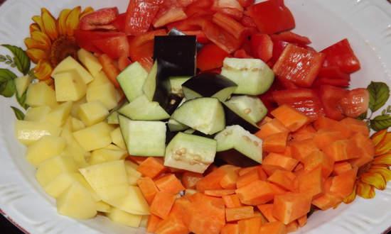 нарезаем овощи крупными кубиками
