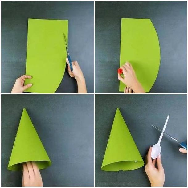 вырезаем конус из бумаги