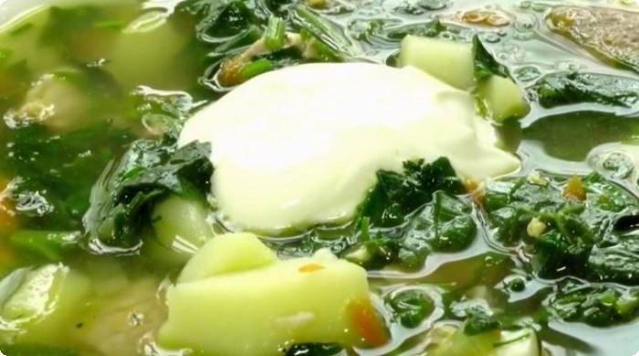 Зеленый суп на мясном бульоне