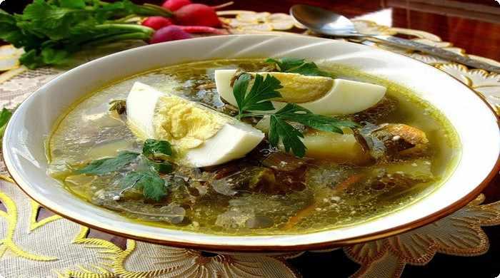 Зеленый суп их щавеля