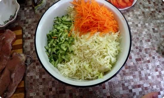 Овощи натираем на крупной терке или шинкуем