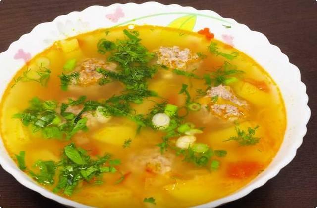 суп с фрикадельками, с рисом