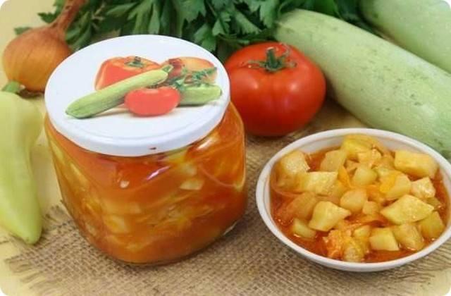 салат из помидор с кабачками