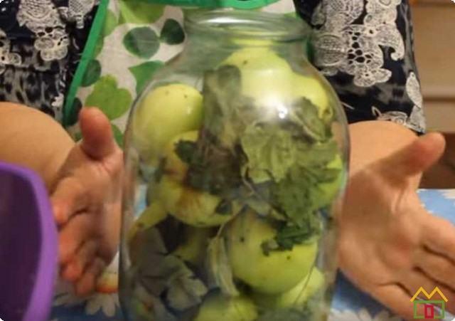 заполняем банки яблоками и листьями кустарников